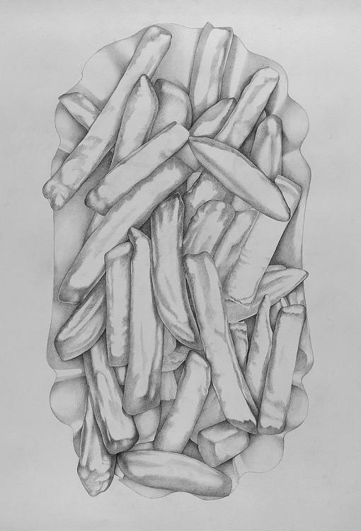 Zeichnung, Pommes frites, Dieter Ziegenfeuter,