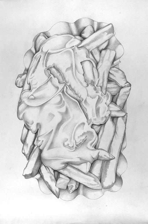 pommes majo, Bleistiftzeichnung, Dieter Ziegenfeuter,