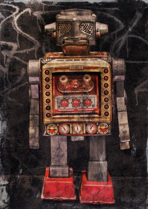 Roboter, Blechspielzeug, Space, Weltraum,Illustration, Grafik-Design, Visuelle Kommunikation, Dortmund, Dieter Ziegenfeuter,