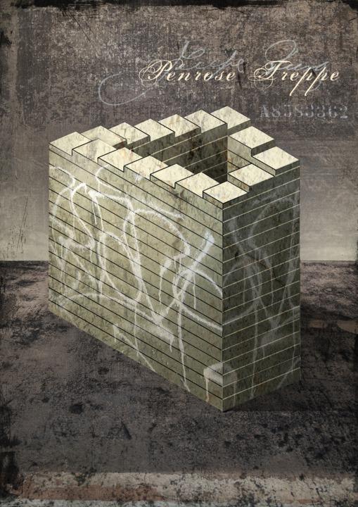 Penrose Treppe, optische Täuschung, Surrealismus, Illustration: Dieter Ziegenfeuter, Dortmund