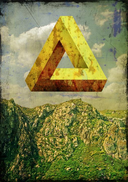 optische Täuschung, Penrosedreieck, SSurrealismus, Landschaft, Illustration Dieter Ziegenfeuter, Dortmund,